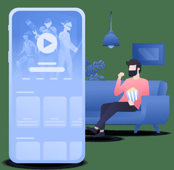 man sitting streaming movie dark illustration