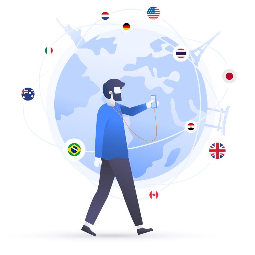 NordVPN VPN Premuim 1 Year man browsing world flags