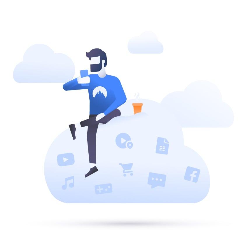 NordVPN VPN Premuim 1 Year man sitting on cloud