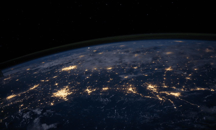 Earth city lights from space