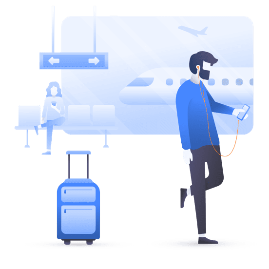 illustration standing man airport phone