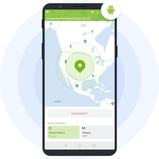 NordVPN connection on the Android smartphone