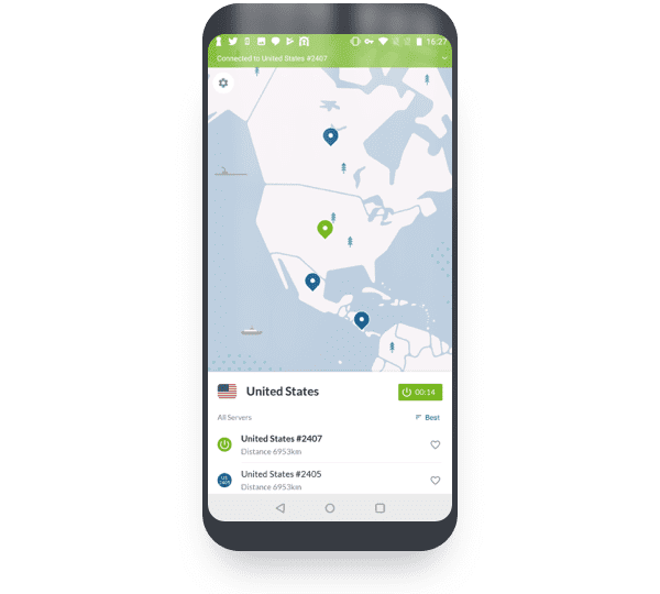 android screen nordvpn map